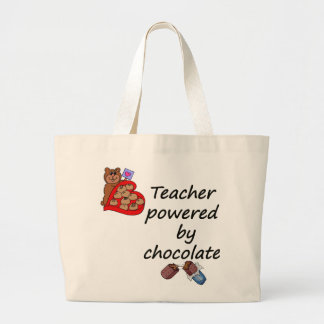 Teacher powered by Chocolate Large Tote Bag