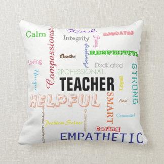 Teacher Pride Gift Attributes Traits Typography Cushion