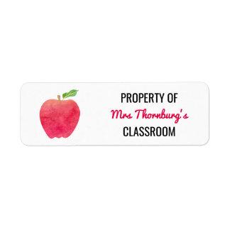 Teacher Property of Classroom Watercolor Red Apple Return Address Label
