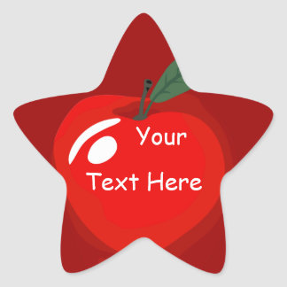 Teacher Red Apple Star Shape Sticker