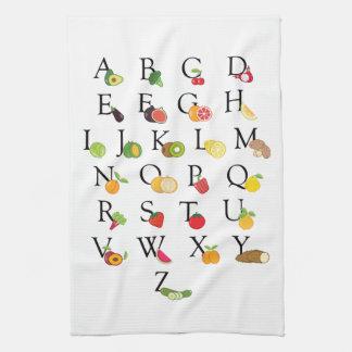 Teacher Retirement A to Z Fruit Veg Alphabet Hand Towel