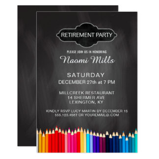 Teacher Retirement Party Chalkboard Pencils Card
