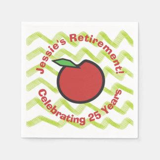 Teacher Retirement Red Apple Personalize Disposable Napkin