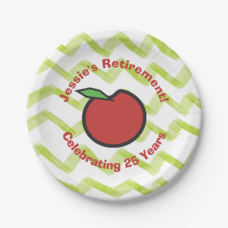 Teacher Retirement Red Apple Personalize Paper Plate