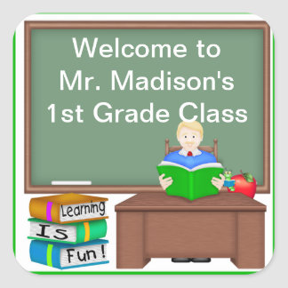 Teacher s Chalk Board Male Square Sticker