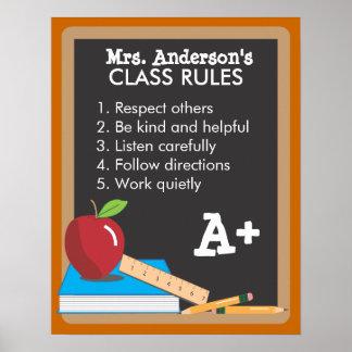 Teacher s Class Rules Blackboard Poster