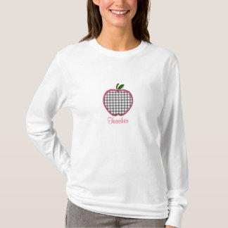 Teacher Shirt - Gray Gingham Apple