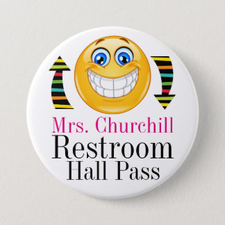 Teacher Student Restroom Pass 7.5 Cm Round Badge