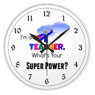Teacher Super Power Large Clock