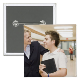 Teacher talking to student, hand on his shoulder 15 cm square badge