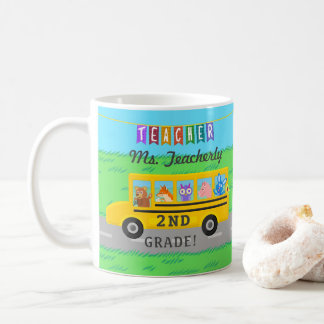 Teacher Thank You Custom Name | Cute Bus Animals Coffee Mug