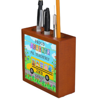 Teacher Thank You Custom Name | Cute Bus Animals Desk Organiser