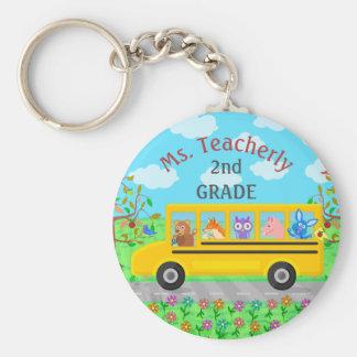 Teacher Thank You Custom Name   Cute Bus Animals Key Ring