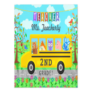Teacher Thank You Custom Name   Cute Bus Animals Magnetic Card
