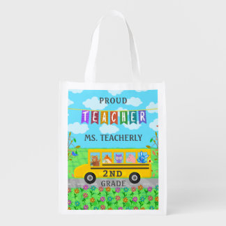 Teacher Thank You Custom Name | Cute Bus Animals Reusable Grocery Bag