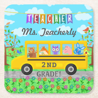 Teacher Thank You Custom Name | Cute Bus Animals Square Paper Coaster