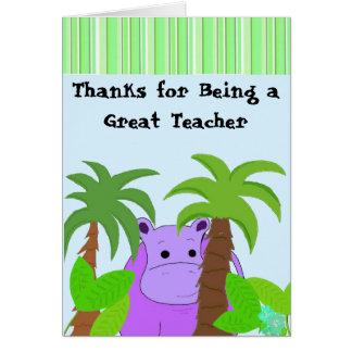 Teacher Thank You - Purple Hippo Card