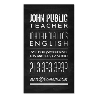 Teacher Tutor Chalkboard Pack Of Standard Business Cards
