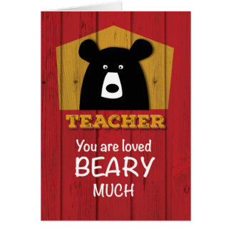 Teacher, Valentine Bear Wishes on Red Wood Grain Card