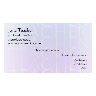 Teacher Violet Blue Business Profile Card Template Pack Of Standard Business Cards