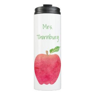 Teacher Watercolor Apple Personalized Pretty Thermal Tumbler