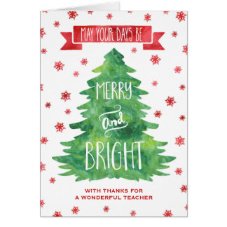 Teacher Watercolor Christmas Tree Card