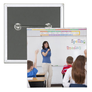 Teacher with students button