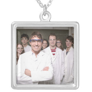 Teacher with students in science class silver plated necklace