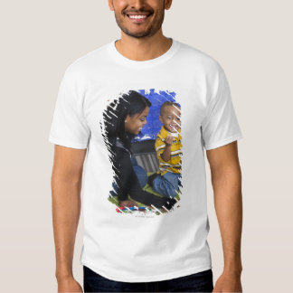 Teacher with toddler in daycare t shirts