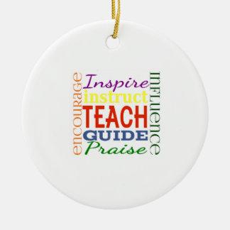 Teacher Word Picture Teachers School Kids Double-Sided Ceramic Round Christmas Ornament