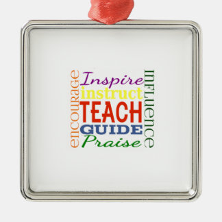 Teacher Word Picture Teachers School Kids Square Metal Christmas Ornament