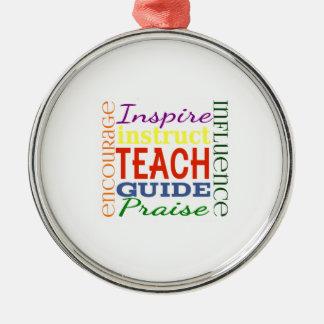 Teacher Word Picture Teachers School Kids Silver-Colored Round Decoration
