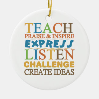 Teacher Words To Live Byy Christmas Ornament