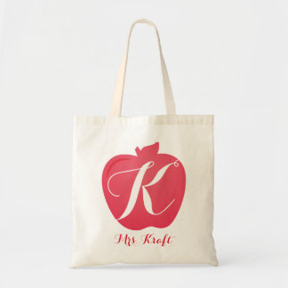 Teacher's Apple Monogram Custom Tote Bag Gift