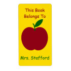 Teacher's Apple Personalised Book Plates