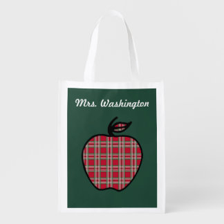 Teacher's Apple Reusable Grocery Tote Bag Gift