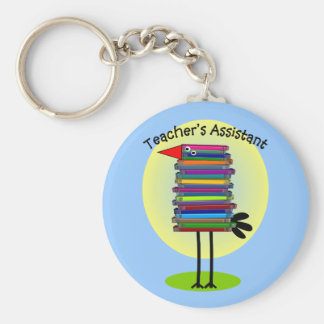 "Teacher's Assistant ""Book Bird"" Design Key Ring"