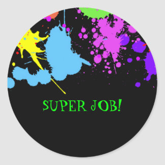 Teachers, Birthday, Faux Neon, Custom Classic Round Sticker