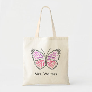 Teacher's Butterfly Word Art Budget Tote Bag