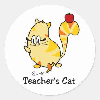 Teacher's Cat cartoon cat with pencil stickers