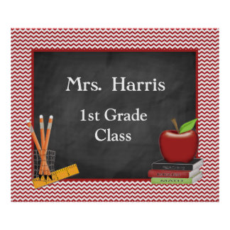 Teacher's Chalk Board Class Poster Personalized