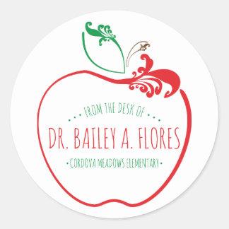 teachers desk flourish apple classic round sticker