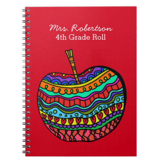 Teacher's Folk Art Apple Notebook