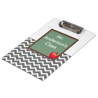 Teachers Gray Chevron Chalkboard Clipboard