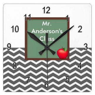 Teachers Gray Chevron Chalkboard Clock