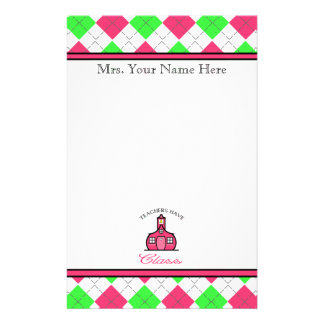 Teachers Have Class - Pink &Green Argyle Stationery Paper