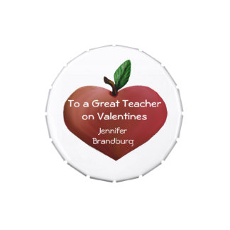 Teacher's Heart Apple Valentine Candy Tin