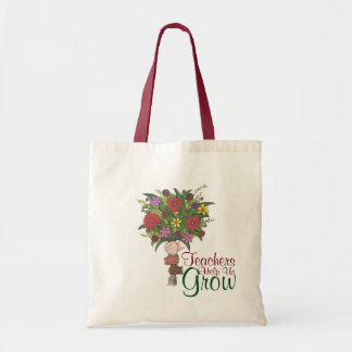 Teachers Help Us Grow Flower Bouquet Gift Tote