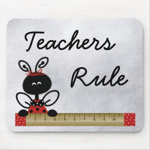 Teacher's Ladybug With Ruler Mouse Pad