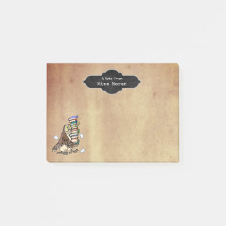 Teachers Name Vintage Paper | Personalized Owl Post-it Notes